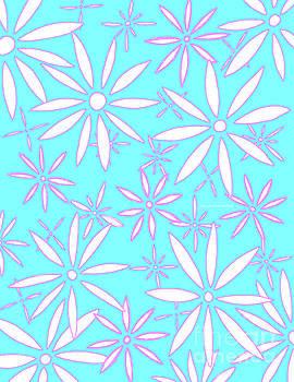 Aqua Pink Quartz Daisies Modern Floral Pattern by Megan Duncanson by Megan Duncanson