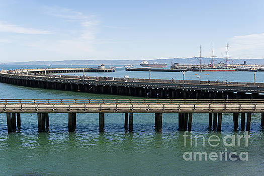 Wingsdomain Art and Photography - Aquatic Park Pier Overlooking The Balclutha Cargo Ship At Hyde Street Pier San Francisco DSC3183