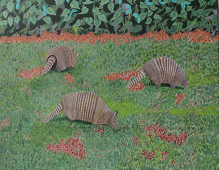 Armadillos in the Yard by Hilda and Jose Garrancho