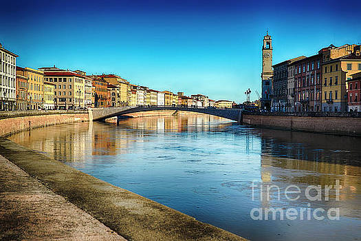 Arno River View in Pisa by George Oze