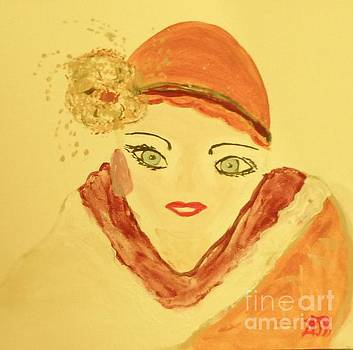 Art Deco Girl In the Red Hat by Marie Bulger