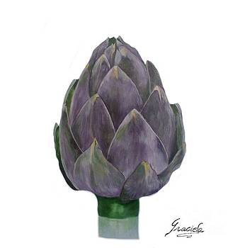 Artichoke on white by Graciela Castro