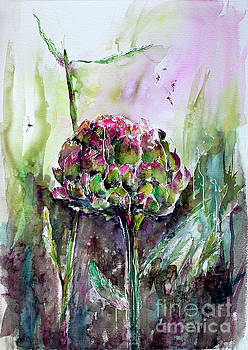 Ginette Callaway - Artichoke Watercolor and Ink by Ginette