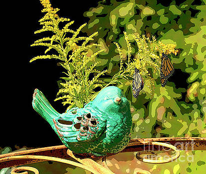Artistic Teal Bird And Butterflies by Luana K Perez