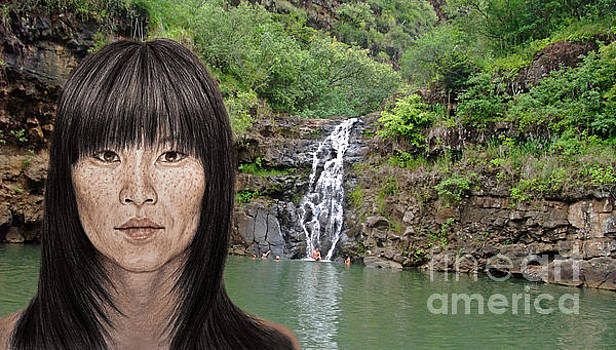 Asian Beauty By a Waterfall  by Jim Fitzpatrick