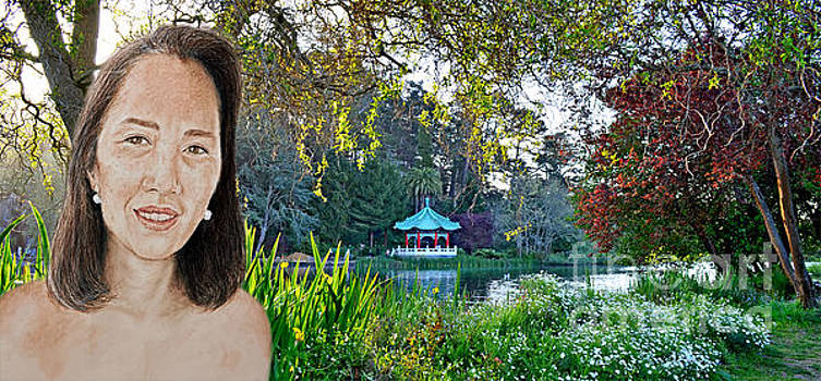 Asian Beauty Pusara by the Pagoda in Golden Gate Park by Jim Fitzpatrick