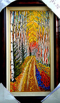 Aspen Road To Autumn by Portland Art Creations