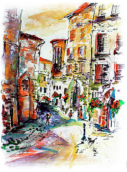 Ginette Callaway - Assisi Italy Old Town Watercolor