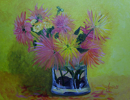 Asters in Clear Vase by Marcia  Hero