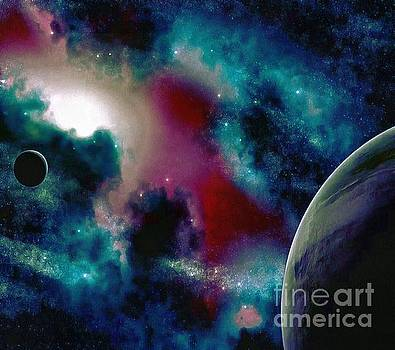 Astronomy Painting Glammed Out Teal by Catherine Lott