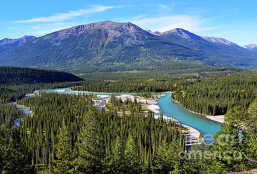 Athabasca River Valley from Old Fort Point - Jasper National Park by Yefim Bam