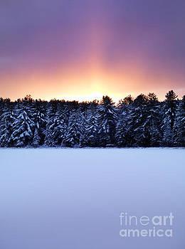 Atmospheric glowing red sunset winter nature scenery by Oleksiy Maksymenko