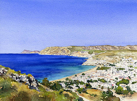 Agua Amarga and the coast of the Parque Natural by Margaret Merry