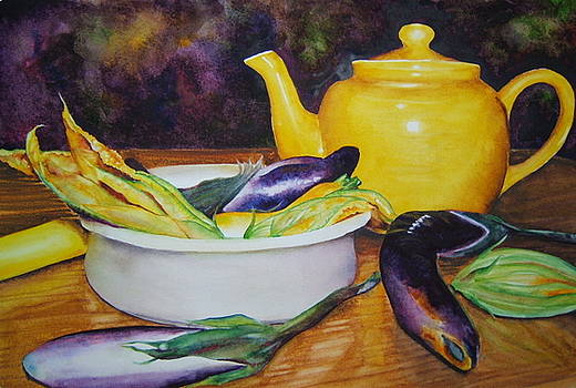 Aubergine and Squash Blooms by Doris Daigle