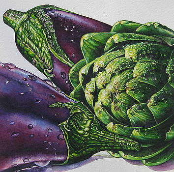 Aubergines and an Artichoke by Tracy Male