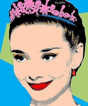 Audrey Hepburn Pop Art Blue Green by Bao Studio