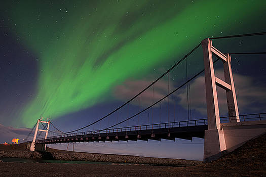 Aurora Skies Over The Jokulsarlon Bridge by Mike Berenson