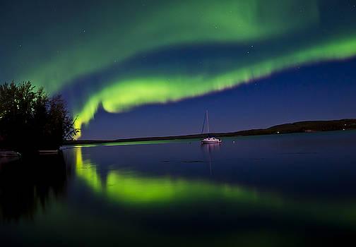 Auroras at the Lake by Steve  Milner
