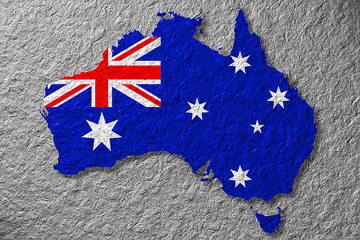 Australian Flag On Stone by Phill Petrovic
