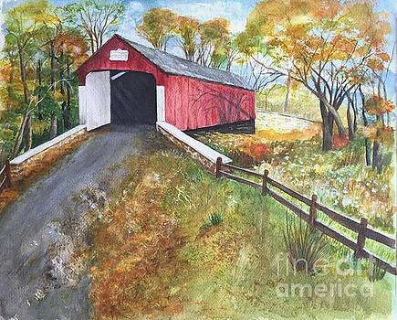 Autumn Afternoon at Knechts Covered Bridge by Lucia Grilletto