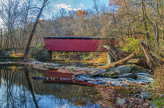 Autumn Along the Wissahickon Creek -Thomas Mill Covered Bridge by Bill Cannon
