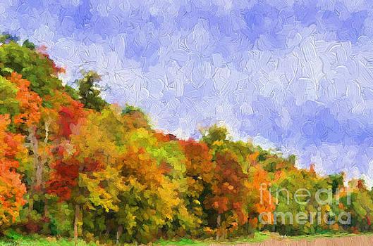 Autumn Color on a Hillside - Digital Paint by Debbie Portwood