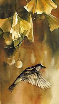 Autumn ginkgo with sparrow by Alfred Ng