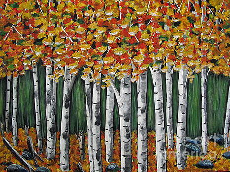 Autumn Glow-White Birch Trees by Beverly Livingstone