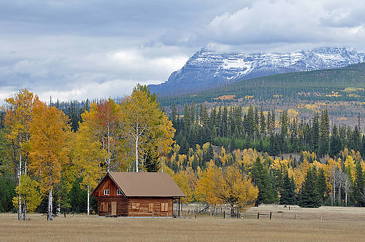 Autumn Mountain Cabin in Glacier Park by Bruce Gourley