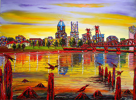 Autumn Over Portland City Lights #67 by Portland Art Creations