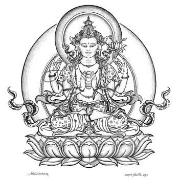 Avalokiteshvara -Chenrezig by Carmen Mensink