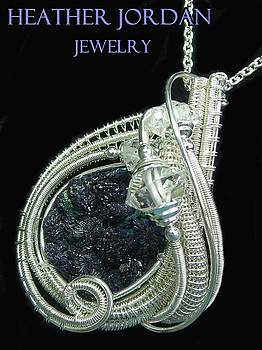 Azurite Druzy and Tarnish-Resistant Sterling Silver Wire-Wrapped Pendant with Herkimer Diamonds by Heather Jordan