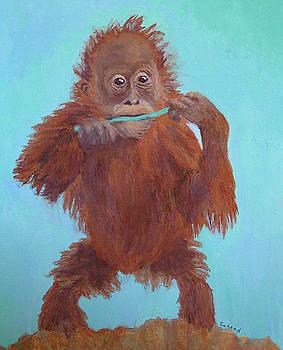 Baby Orangutan Playing by Margaret Saheed