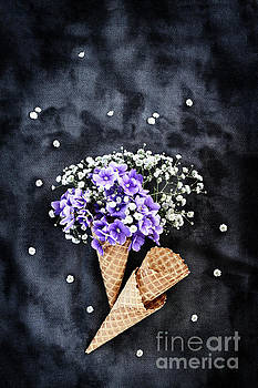 Baby's Breath and Violets Ice Cream Cones by Stephanie Frey