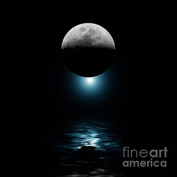 Backlit moon and blue star over water by Simon Bratt Photography LRPS