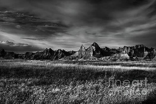 Badlands National Park South Dakota Landscape BW by Wayne Moran