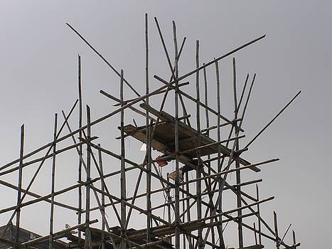 Bamboo scaffolding in the sky by Kathy Daxon