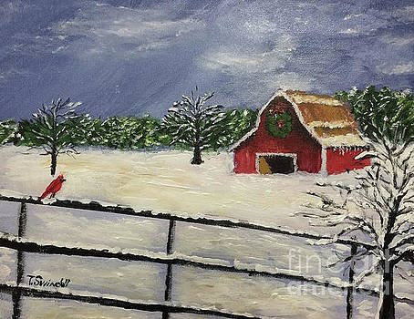 Barksdale Barn in Snow by Tina Swindell
