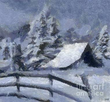 Barn In Snow by Dragica Micki Fortuna
