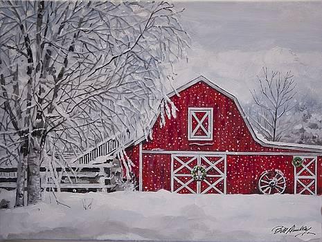 Barn in Snowstorm by Bill Dunkley