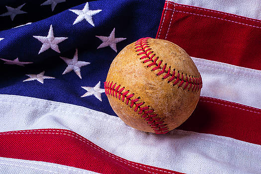 Baseball And American Flag by Garry Gay