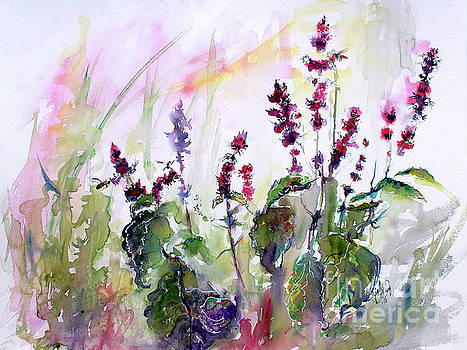 Ginette Callaway - Basil Culinary Herb Watercolor