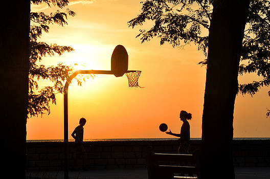 Basketball in Sunset by Diane Lent