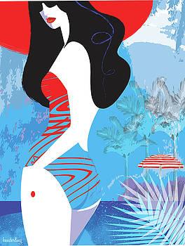 Woman at beach in bathing suit by Lisa Henderling