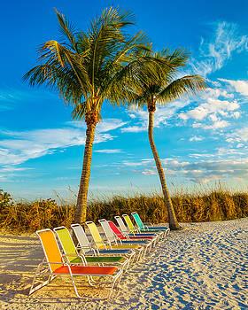 Beach Lounges under Palms by Robert FERD Frank