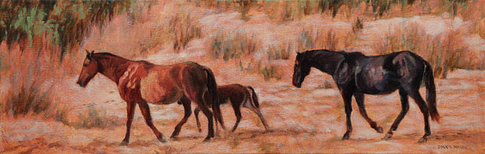 Beach Ponies - Wild horses in the dunes by Bonnie Mason