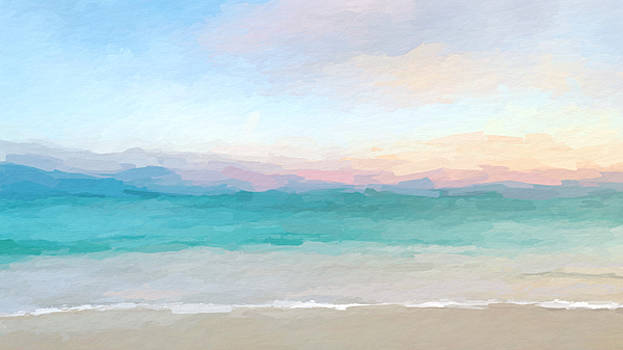 Beach watercolor sunrise by Anthony Fishburne