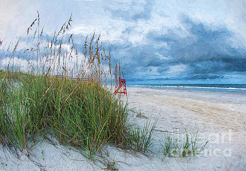 Beach with Red Lifeguard Chair by Linda Olsen