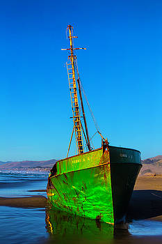Beached Abandoned Boat by Garry Gay