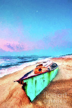 Dan Carmichael - Beached Boat and Moon on Outer Banks AP
